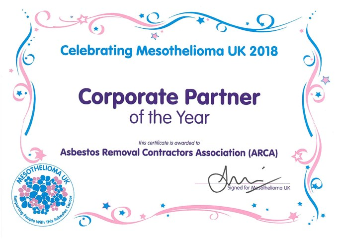 ARCA receives award from Mesothelioma UK