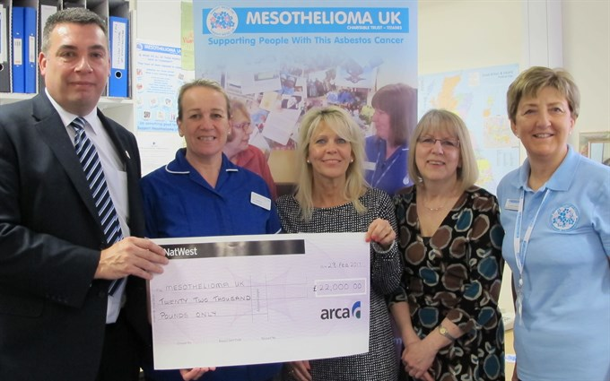 ARCA and ATaC Members donate £22,000 to Mesothelioma UK